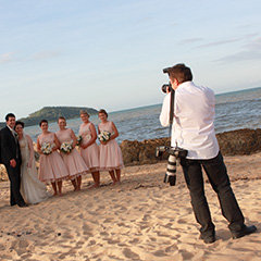 Port Douglas wedding photographer in action