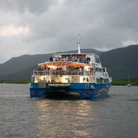 Private charter boat from Cairns to private floating pontoon on the Great Barrier Reef