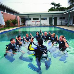 Private scuba diving school swimming pool PADI dive Cairns Queensland Australia