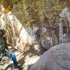 Stunning display of Quinkan Rock Art Site in Laura