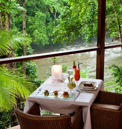 Gourmet Rainforest Dining overlooking Mossman Gorge River - Silky Oaks Lodge, Port Douglas.
