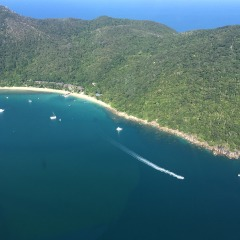 Great Barrier Reef Helicopter Flight | View of Fitzroy Island off Cairns