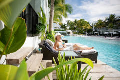 Relax in a Lagoon Deluxe Suite with direct access to Lagoon Swimming Pool at Peppers Beach Club Resort