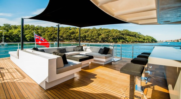 Relax in the top deck of your private Superyacht exploring the Great Barrier Reef