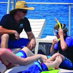 Relax on the pontoon sundeck - Great Barrier Reef tours from Cairns