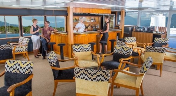 Relaxation area on upper deck of cruise ship