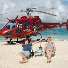 Relaxing on a Private Sand Cay on the Great Barrier Reef | Cairns Helicopter Flights
