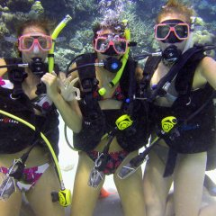 Scuba divers with Reef Magic Cruises Cairns