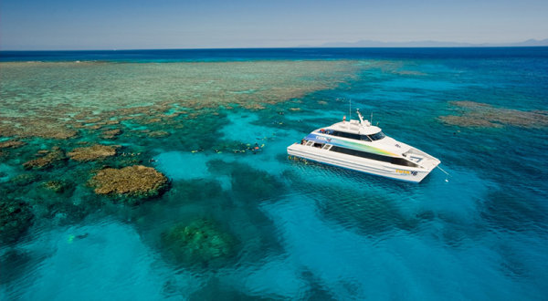 Aerial view of our Cairns Snorkel and Scuba Diving boat on the Great Barrier Reef