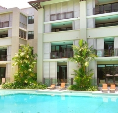 Palm Cove Swimout Apartment from Lagoon Pool at Sea Temple Resort complex