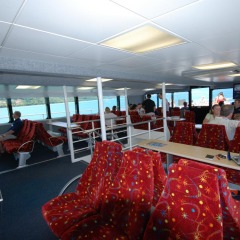 Seating inside the Cairns charter boat