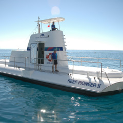Semi-submersible submarine on the Great Barrier Reef in Cairns