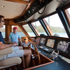 Skippers control room on board MV-A Cairns luxury private charter boat