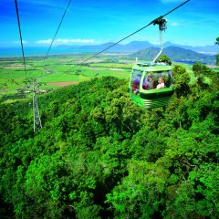 Skyrail Gondola views across to the Great Barrier Reef in Cairns Queensland Australia