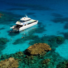 Aerial View of our Dive and Snorkel boat in Cairns on the Great Barrier Reef