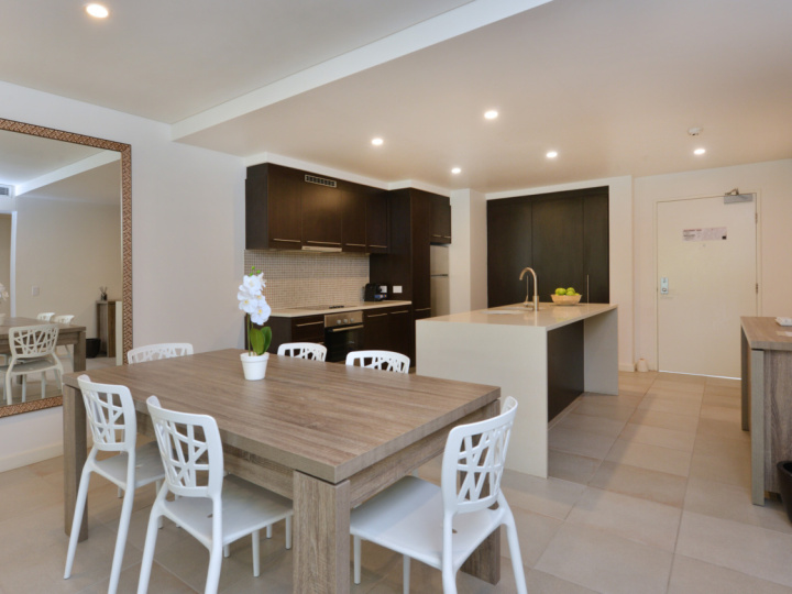 Spacious Dining & Kitchen in the Sea Temple Private Holiday Apartments Port Douglas