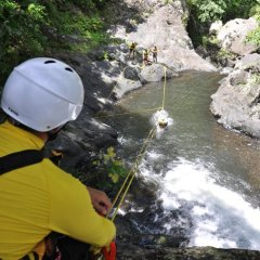 Splash-down on the Zipline - Cairns Canyoning Tour