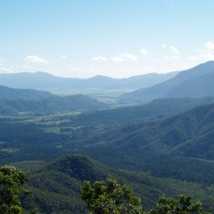 Stop off at lookouts to view the Atherton Tablelands behind Cairns