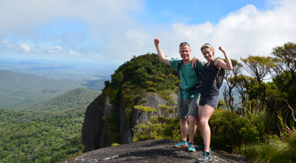 Success as we ascend the Cairns Mountains on Hiking Tours