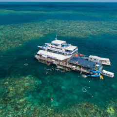 Aerial view of the Great Barrier Reef pontoon off Cairns