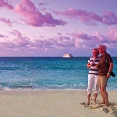 Cairns Cruise Ship tours - Sunset on a sand cay on the Great Barrier Reef