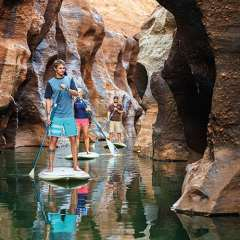 SUP boarding thru Cobbold Gorge outback Queensland