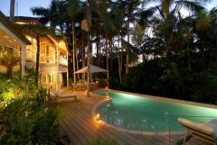 Heated Swimming Pool at Dusk - 7 Wharf Street Port Douglas Luxury Holiday House