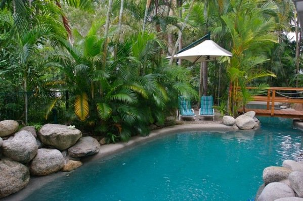 Accommodation port douglas coral apartments port douglas for Tropical pool gardens