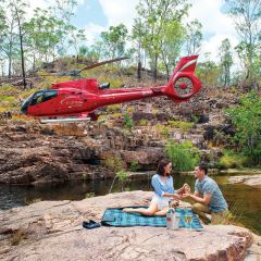 Take your loved one for a private charter helicopter flight from Cairns to the outback