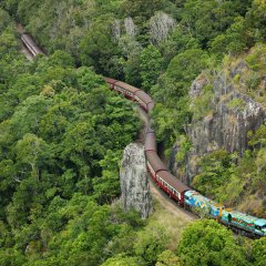 The Kuranda Train Winds Its Way Up The Mountain