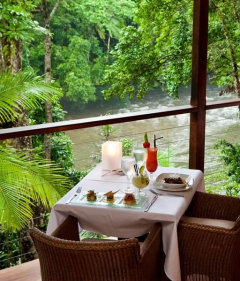 The perfect table for two in the Daintree Rainforest Resort by the riverbank
