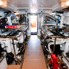 The spick and span engine room MV-A Luxury boat Cairns