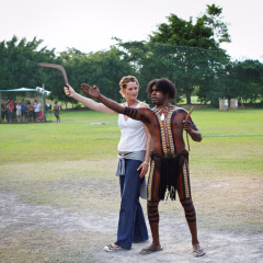 Learn to throw a Boomerang at Tjapukai Aboriginal Cultural Park