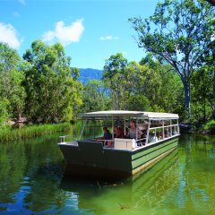 Tour guide taking guests on the Crocodile Lagoon Cruise