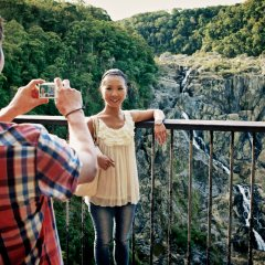 Taking Photos at Barron Falls Lookout on Kuranda Scenic Train