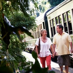 Couple Disembark Train at Kuranda Station