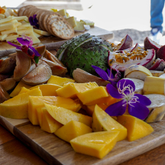Tropical fruit tasting & Cheese platter from the local Gallo Dairy land