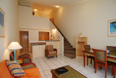 Two Bedroom Apartment with Mezzanine Master Bedroom, and 2nd Bedroom Downstairs.