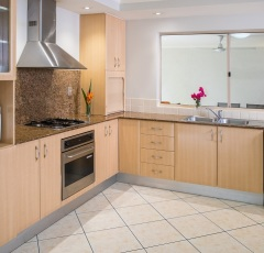 Two Bedroom Deluxe Apartment Kitchen - The Lakes Resort Cairns