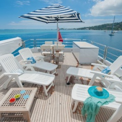 Upper deck area for relaxation on Superyacht Great Barrier Reef - Australia