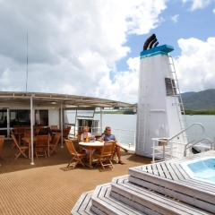 Upper pool deck on your Great Barrier Reef Cruise boat