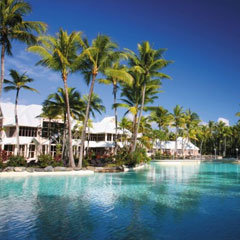 View across the exapansive Port Douglas Resort Swimming Pool