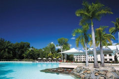 View across the expansive lagoon in the Port Douglas Resort Sheraton Mirage