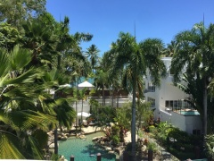 Beach Views thru palm trees from 94 on the beach Palm Cove Private Apartment