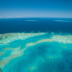 View of Great Barrier Reef on scenic flight