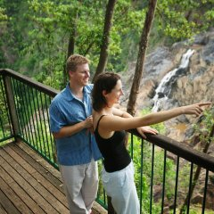 Visit the Barron Falls from the viewing platforms on the way to Kuranda Village