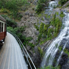 Waterfall view from Kuranda Train and Scenic Railway in Cairns