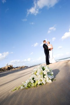 Wedding couple photo shoot on the beach Port Douglas