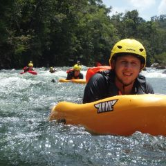 White Water River Boarding Face First in the Tully River